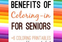 Coloring Books for Elderly / Coloring may sound like a simple activity to ward off boredom, but for seniors & the elderly it can actually improve health by engaging the mind and sharpening fine motor skills and mental acuity.   This makes coloring the perfect therapy for Seniors and those seeking a quiet way to improve their coordination and attention.