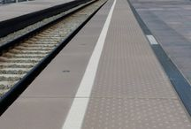 Concrete railway platforms / We produce all kind of mobility articles in concrete like quaysides, tactile tiles, LED lighting, street furniture for platforms, stops for: train, metro, tram, bus, taxi,... http://www.urbastyle.com/en/products?category=520