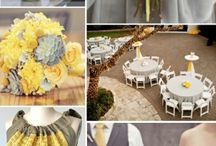 Grey & Yellow / Grey & yellow wedding theme with natural confetti ideas from The confetti cone company www.confetti-cones.co.uk