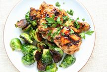 apricot glazed chicken with brussels sprouts