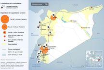 """Evolution du conflit / des cartes qui montrent l'évolution du conflit. Celui-ci débute en Mars 2011 où le """"printemps arabe"""" tente de faire tomber le régime de Bachar Al-Assad. Deux ans et demie plus tard, la syrie est en état de guerre.  Antoine"""