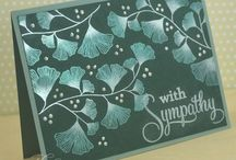 """Stamp:Ginkgo Branch / Handmade cards featuring the stamp """"Ginkgo Branch"""" by Beeswax or the stamp set """"Harvest Berries"""" by Papertrey Ink."""