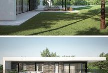 Modern box houses / Box shaped, modern homes with large windows or glass walls