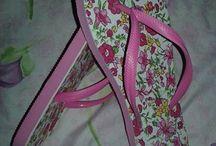 chinelo  estampado com tecido florido