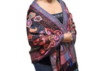 Embroidered Shawls and Stoles / Hand Embroidered Dress Shawls, Evening Wraps and Fashion Stoles from Kashmir, India