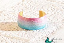 Cuff bracelet brass painted with landscape background aurora borealis made in polymer clay