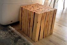 Meja kayu bulat