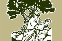 Via crucis actual / Son los 15 momentos del camino de la cruz, que en 1992, el Papa Juan Pablo II designó como Viacrucis en sustitución de las 14 estaciones tradicionales. He colorizado estas imágenes a partir de las imágenes vectoriales en blanco y negro disponibles en mi web: www.logo-arte.com/religion.htm