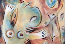 Ever Fonseca / Premio Nacional de Artes Plásticas de Cuba 2012. Sus pinturas parecen sacadas de historias infantiles, pero son en realidad, una coherente interrelación de imágenes extraídas de las experiencias y credos tradicionales cubanos. / National Prize of Plastic Arts of Cuba 2012. His paintings straight out of children's stories, but they are really a coherent interplay of images drawn from the experiences and traditional Cuban faiths.