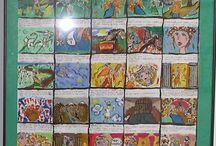 """Konkurs na Komiks """"Mój ulubiony bohater literacki w epoce ..."""" / Tablica przedstawia prace komiksowe, które ilustrują ulubionego bohatera literackiego w różnych epokach."""