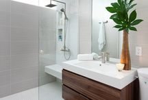 Contemporary Bathroom Ideas / Contemporary bathroom designs that are sleek, open concept, functional and/or minimalistic.