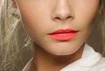 coral lips, nude eye