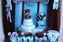 Temática para fiestas / Ejemplos de mesas,decoración,candy bar para fiestas de bebé varón