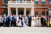 Summer wedding photographs / A mixture of great wedding photography including table decorations, fabulous wedding dress & dresses flowers with centrepieces, hairstyle and wedding cake.