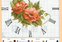 cross stitch- clocks