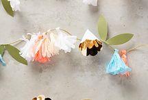 Бумажные цветочные гирлянды