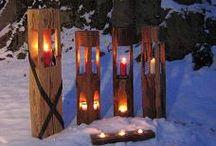 Holzbalkenwindlichter