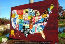 License Plate Art and Maps / Design Turnpike creates art and maps using recycled vintage license plates. http://www.designturnpike.com