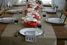 Fabric flowers, runner and napkins