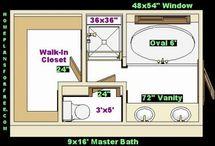 bathrooms/closets