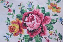 Vintage LARGE Cross Stitch TABLECLOTH