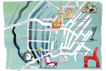 Illustrations maps / plattegronden Amsterdam / maps / plattegronden Amsterdam: de Pijp, het Centrum, Utrechtsestraat, KNSM/Haarlemmerstraat, Jordaan