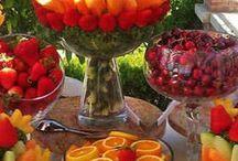 mesas de frutas y dulces