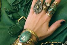 metal decorated rings and bracelets