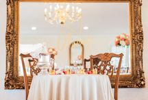 Colorful Mansion Wedding / Wedding and Reception at 1844 Antrim Country House Hotel. Dyanna Joy Photography, Flowers: Shelly Black, Linens by Gala Cloths