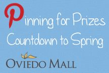 Pinning for Prizes Countdown to Spring / Celebrating the official colors of Spring 2014!  Repin our images of your favorite Spring 2014 color for a chance to win prizes!  10 colors, 10 weeks, 10 winning Pinners!  Repin every week now through the first day of Spring, March 20, for a chance to win a $100 Oviedo Mall gift card pack!