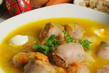 Polish Food - Kuchnia Polska / Traditionally, the main meal is eaten about 2 p.m. or later, and is usually composed of three courses, starting with a soup, such as popular rosół and tomato soup or more festive barszcz (beet borscht) or żurek (sour rye meal mash), followed perhaps in a restaurant by an appetizer of herring (prepared in either cream, oil, or vinegar). Other popular appetizers are various cured meats, vegetables or fish in aspic. The main course is usually meaty including a roast or kotlet schabowy.