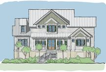 Cooper Tide / The Cooper Tide plan is an elevated design ideal for coastal areas and side or front entry parking. This plan features a master suite on the right of the house with his and her closets and private access to the screened in porch. On the living level is also an expansive, open kitchen/dining/living area, a large media room and a laundry room. Upstairs there are three guest bedrooms with two full baths, a small study, large home office and a smaller viewing deck.
