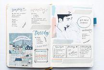 Drawing, journaling, sketching