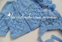 Touca e casaquinho de trico para o bebe / casaquinho e touca de tricô azul para o bebe feito com a lã Mais Bebê da Círculo