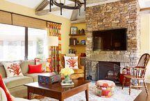 fireplace stoned wall