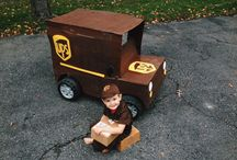 UPS Truck / Lane wanted to be a UPS man for halloween, He always pretends that his Power Wheels Jeep is his UPS Truck, so we decided to officially make it one!  / by Anna Satalino