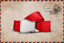 Red Tokyo - Fly-Belts aicraft seat belts redesigned as fashion accessories / Designed by and for international travelers, Fly-Belts are adapted airplane seat belts recast to fit all types of pants and jeans. Express & share your frequent flyer experience with this original travelwear.  - Color : Red Tokyo - One way pack : 1 buckle + 1 belt - 2 available sizes for buckle thickness and belt's webbing width - Original (48mm) and Slim (38mm) - One length fits all - Airline resistant webbing. Aluminium buckle