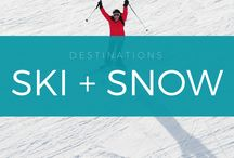 Ski Outfit Ideas + Snow Vacation Destinations / Your travel bucket list for ski, snowboard, and snow destinations. Ski outfits, snow fashion and snowboarding essentials. Travel tips for your next vacation from a professional travel blog.