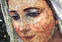 Figurative Mosaic & Portraits / Mosaic materials including smalti, vitreous glass tile and marble mosaic tile rendered in mosaic portraiture and other figurative mosaic artwork. Make a naturalistic figurative mosaic or stylized and simple portrait.