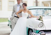 Wedding with car poses