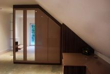 Dark Wood Fitted Angled Ceiling Wardrobe Partition