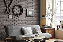 Painted brick feature wall