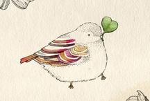Pájaros / birds / ilustraciones, bordados, corpóreos, etc.