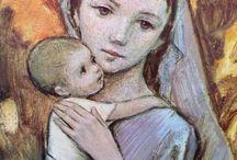 Jezis,Maria a svaty