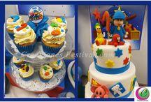 Decoración de fiesta Pocoyo / Decoración de Pocoyo con globos en azul y mesa de dulces/chuches personalizados. Fiesta de cumpleaños infantil de niño