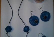 Blue polymer clay jewellery / Hand made polymer clay necklaces and earrings