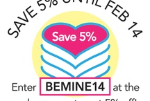 """Valentines Coupon! / Enter the code, BEMINE14, on the """"shopping cart"""" page and get 5% off your gift cake!"""