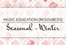 Seasonal: Winter - Music Education {Resources} / Songs and activities for winter, Christmas, Hanukkah, Kwanzaa, & Valentine's Day.