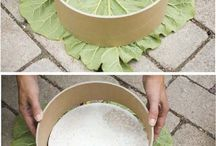 Creative cement tricks DIY / Using a leaf for imprint on cement