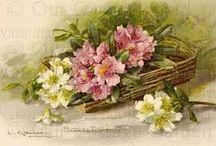 canastas con flores decoupage